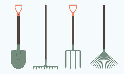 Shovel or spade, rake and pitchfork icons isolated on white background. Gardening tools design. Colorful vector illustration.