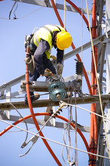 electric tower of  high voltage Is disassembled by specialists  worker
