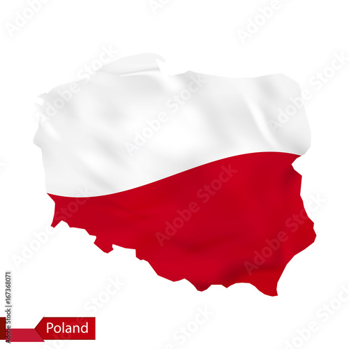 Poland map with waving flag of Poland.\