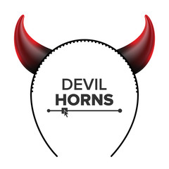 Devil Horns Vector. Head Gear. Red Luminous Horn. Demon Or Satan Horns Symbol, Sign, Icon. Isolated On White
