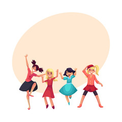 Four various girls in colorful clothes having fun, dancing at party, cartoon vector illustration with space for text. Set of happy girls, kids, celebrating birthday, having fun, dancing