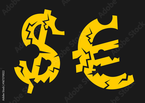 Symbol Of Euro And Us Dollar With Cracks And Holes Economical