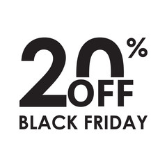20% off. Black Friday design template isolated on white background. Sales, discount price, shopping and low price symbol. Vector illustration.