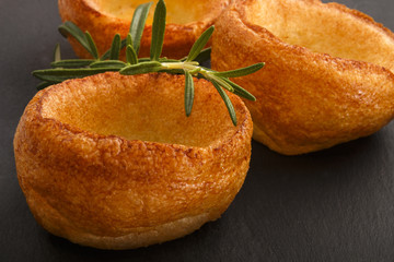 yorkshire pudding with rosemary on slate
