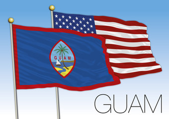 Guam island and United States flags