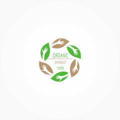 Organic Product Logo, Food Logo, Restaurant Logo, Vector Illustration