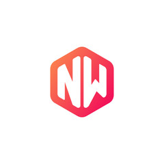 Initial letter nw, rounded hexagon logo, gradient red orange colors