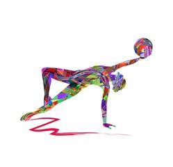 illustrazione vettoriale di ragazza che pratica ginnastica ritmica con la palla