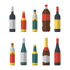 Set of different bottles flat isolated. Wine, beer, olive oil, coke and champagne