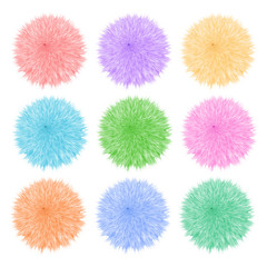 Colorful set with of fluffy balls. Pompom isolated on white background