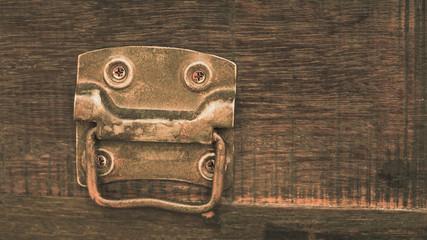 Vintage Metal Plate On Wooden Box