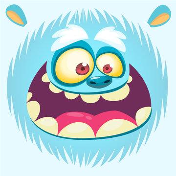 Cartoon yeti face. Vector bigfoot snowman. Design for t-shirt print, sticker or illustration
