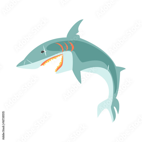 Reef shark showing the mouth and teeth cartoon vector Illustration