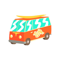 Red vintage surfing van with surfboard, classic minivan cartoon vector Illustration