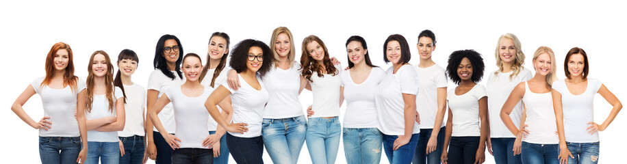 group of happy different women in white t-shirts Wall mural