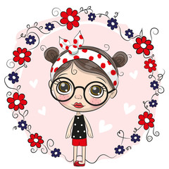 Cute Cartoon Girl and flowers