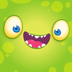 Adorable cool cartoon monster face. Halloween vector illustration of green smiling monster avatar