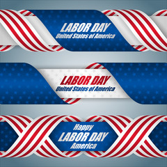 Set of web banners with texts and national flag colors for American Labor day, celebration event; Vector illustration
