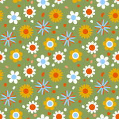 Seamless pattern with flowers, vector