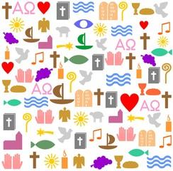 Bunte, christliche Symbole als Quadrat
