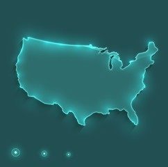 USA map light neon vector