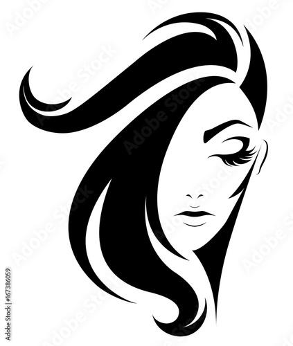 Women Short Hair Style Icon Logo Women On White Background Stock