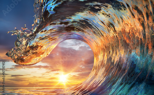 Wall mural Colorful Ocean Wave. Sea water in crest shape. Sunset light and beautiful clouds on background