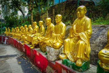 Statues at Ten Thousand Buddhas Monastery in Sha Tin, Hong Kong, China.