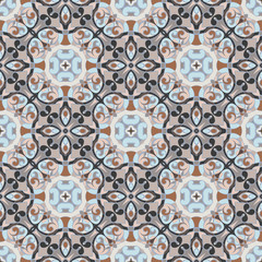 Tuinposter Marokkaanse Tegels Abstract Oriental pattern. Seamless symmetrical pattern of swirls, lines and stars. Vector illustration.