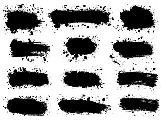 Fototapeta Set of Splatter Hand Drawn Paint Texture . Black Spray Blot of Ink and brush strokes. Place for text.