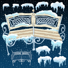 Wooden isolated bench Vector flat illustration of frosty and snowy winter weather outdoors.