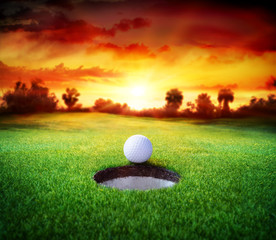 Poster Golf Ball In Hole - Golfing - Target Concept