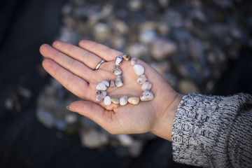 Cropped hand of woman holding pebbles in heart shape