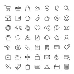 e-commerce online shopping line black 49 icons set