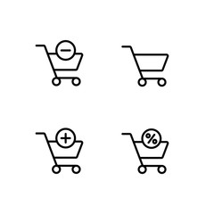 cart trolley add and remove item black line icons set