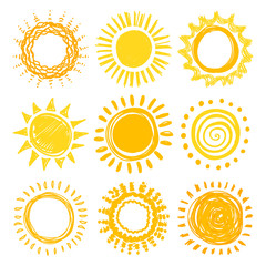 Doodle sun collection for summer design. Vector illustration