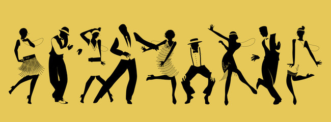 Silhouettes of nine people dancing Charleston