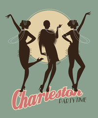 Fototapete - Silhouettes of three flapper girls on a Charleston party poster