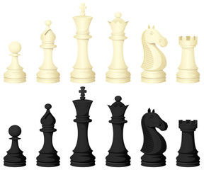 Vector illustration of chess pieces, in both white and black.