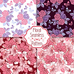 Set of vintage pink roses seamless ornaments. Decorative ornament backdrop for fabric, textile, wrapping paper