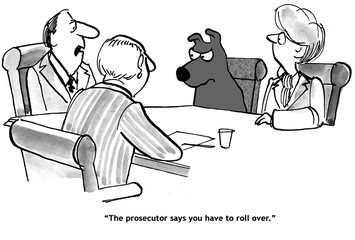 Legal cartoon about a dog who gets off if it 'rolls over'.