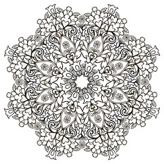 Mandala for antisstres coloring books. Decorative round ornament. Fantastic flower