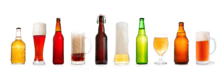 Various beer collection isolated on white