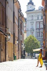 Woman in the streets of Prague, Czech Republic