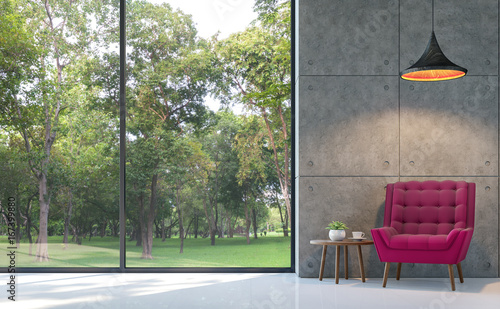 Loft Style Living Room 3d Rendering Image.There Are White Floor,polished  Concrete Wall