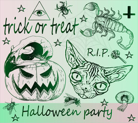 Halloween party, a great set of stylish stylish stickers on a themed holiday. Stylish stickers. Cool idea for a tattoo. Trick or treat