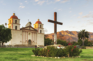 Old Mission Santa Barbara at the sunset