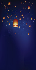 Floating lanterns in the night sky ceremony at Thailand