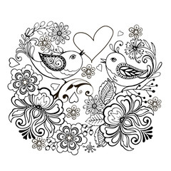 Birds with flowers and hearts for anti Stresa Coloring