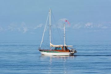 Riga, LV - JULY 30, 2017: Sailing Yacht in Baltic Sea